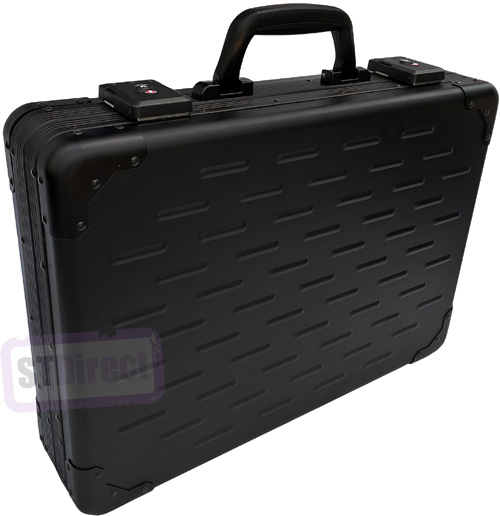 UltraArmor Solid Aluminium Executive Laptop Padded Briefcase Attache Case Carbon Black - 13-17.5""