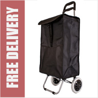 Vermont Large Capacity 2 Wheel Shopping Trolley with Rectangular Bag Shape and Internal Wire Frame Black