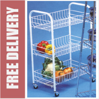 White 3 Tier Basket Vegetable Trolley Storage Rack on Wheels