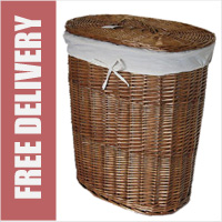 Wicker Laundry Linen Basket with Lid and Liner Dark