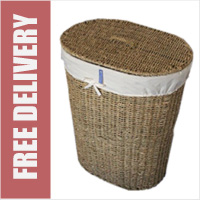 Wicker Laundry Linen Basket with Lid and Liner Seagrass