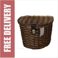 Wicker Bike Basket with Lid Dark