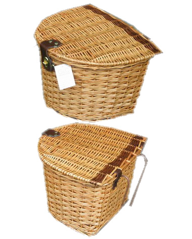 Wicker Bike Basket with Lid Light