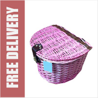 Wicker Bike Basket with Lid Pink