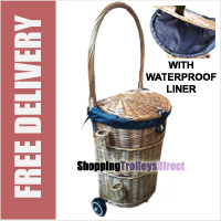 Luxury Large Wicker Shopping Trolley on Wheels with Lid and Removable Waterproof Zippered Liner