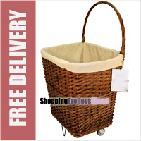 Natural Large Wicker Trolley on Wheels