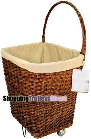 Natural Large Wicker Trolley On Wheels Wicker Trolleys