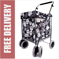 Windsor Premium 6 Wheel Swivel Shopping Trolley Black with Grey and White Floral Print - PETITE SIZE