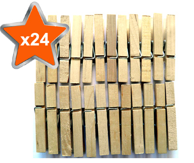 24 x Traditional Wooden Clothes Line Pegs