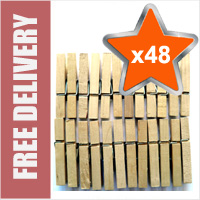 48 x Traditional Wooden Clothes Line Pegs
