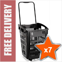 7 x XL Shopping Basket On Wheels - Black