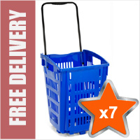 7 x XL Shopping Basket On Wheels - Blue