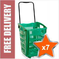 7 x XL Shopping Basket On Wheels - Green