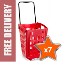 7 x XL Shopping Basket On Wheels - Red