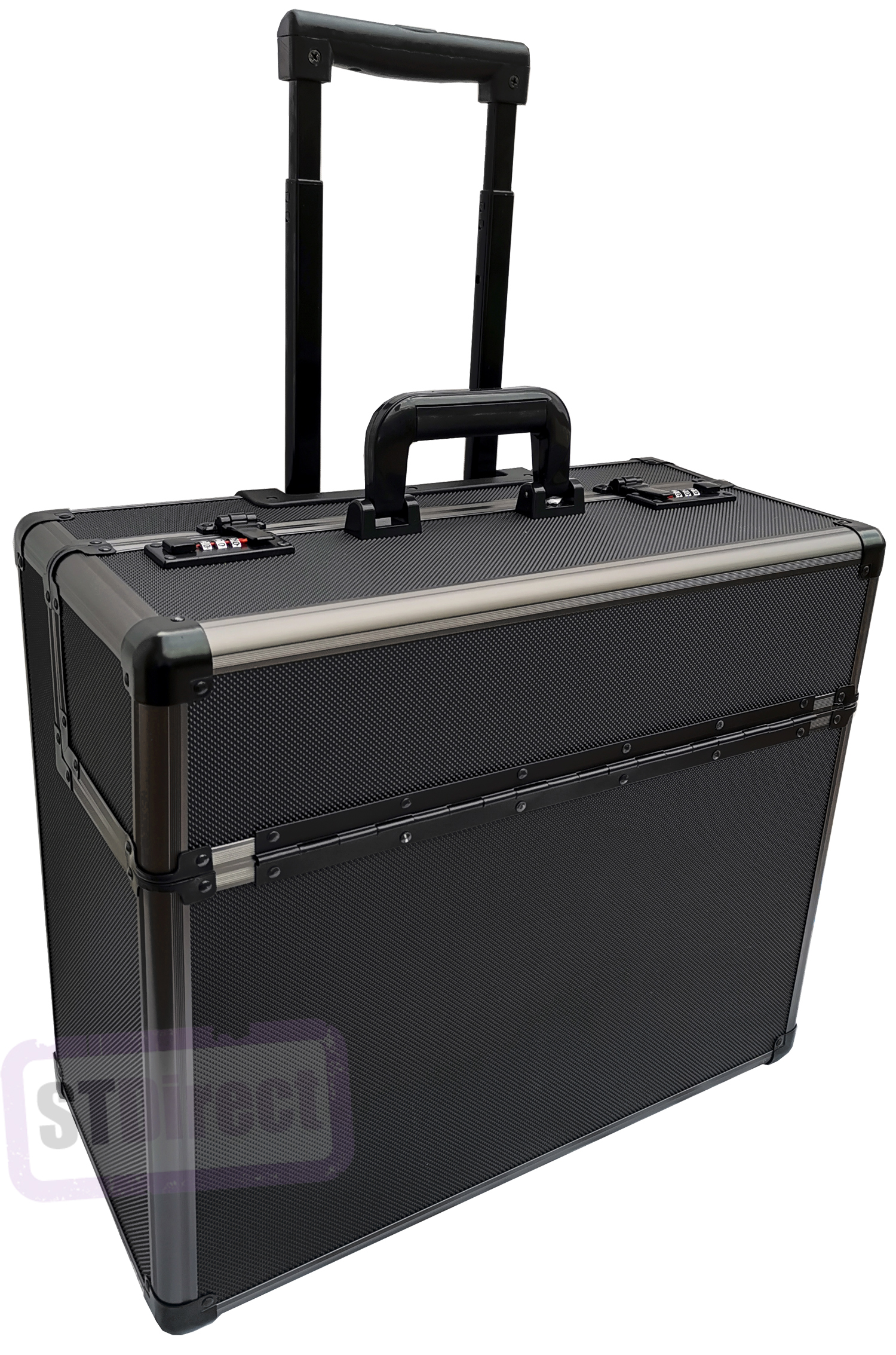 Pro XL Aluminium Wheeled Pilot Trolley Case with Strong Telescopic Handle Black / Gun Metal