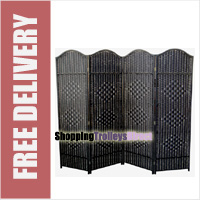 Wicker Handwoven 4 Part Panel Partition Room Divider Screen Black Classic