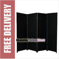 Wicker Handwoven 4 Part Panel Partition Room Divider Screen Black Double Weave
