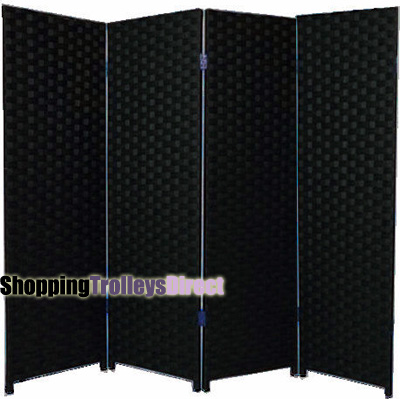 Wicker Handwoven 4 Part Panel Partition Room Divider Screen Black