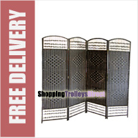 Wicker Handwoven 4 Part Panel Partition Room Divider Screen Black Standard