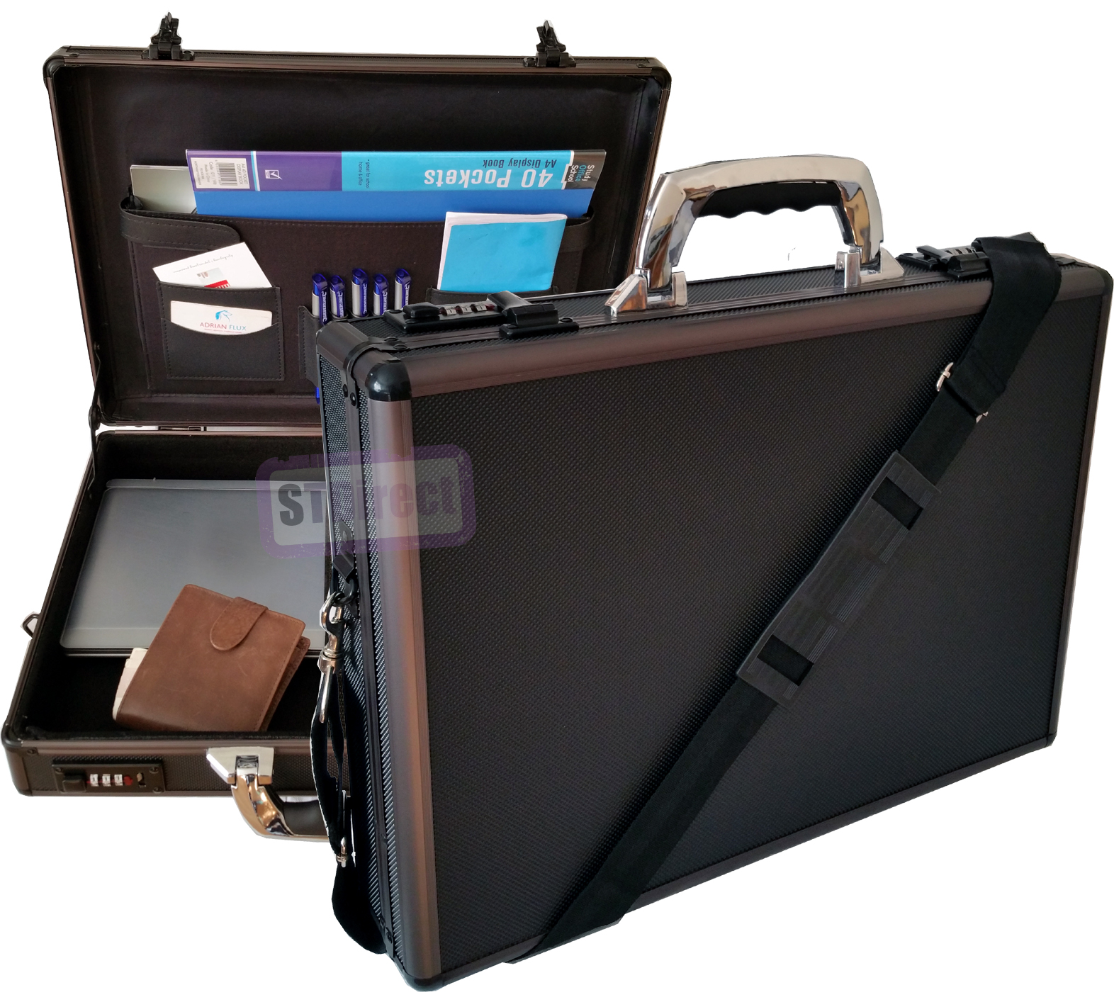 Pro Aluminium Laptop Padded Briefcase Attache Case with Detachable Shoulder Strap