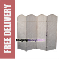 Wicker Handwoven 4 Part Panel Partition Room Divider Screen Cream Classic