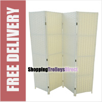 Wicker Handwoven 4 Part Panel Partition Room Divider Screen Cream Double Weave