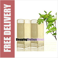 Wicker Handwoven 4 Part Panel Partition Room Divider Screen Cream Standard