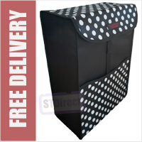 Deluxe Replacement Spare Bag for Two Wheeled Shopping Trolley Frame Black with White Polka Dots (56 x 38 x 22cm)