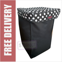 Deluxe Replacement Spare Bag for 4 or 6 Wheel Cage Trolley Black with White Polka Dots (56 x 34 x 33cm)