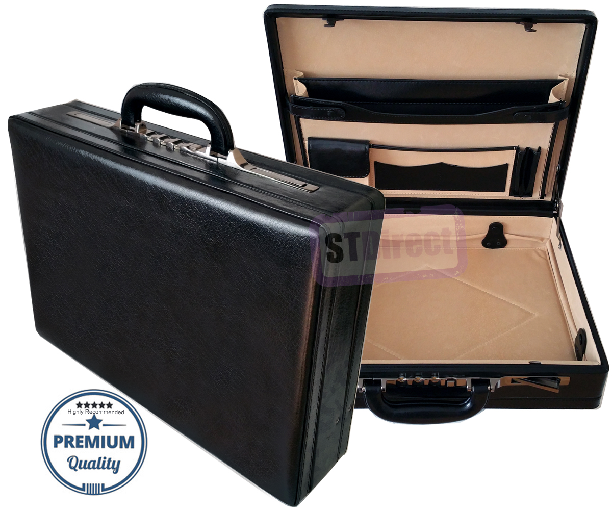 Genuine Leather Professional Expandable Executive Attache Briefcase