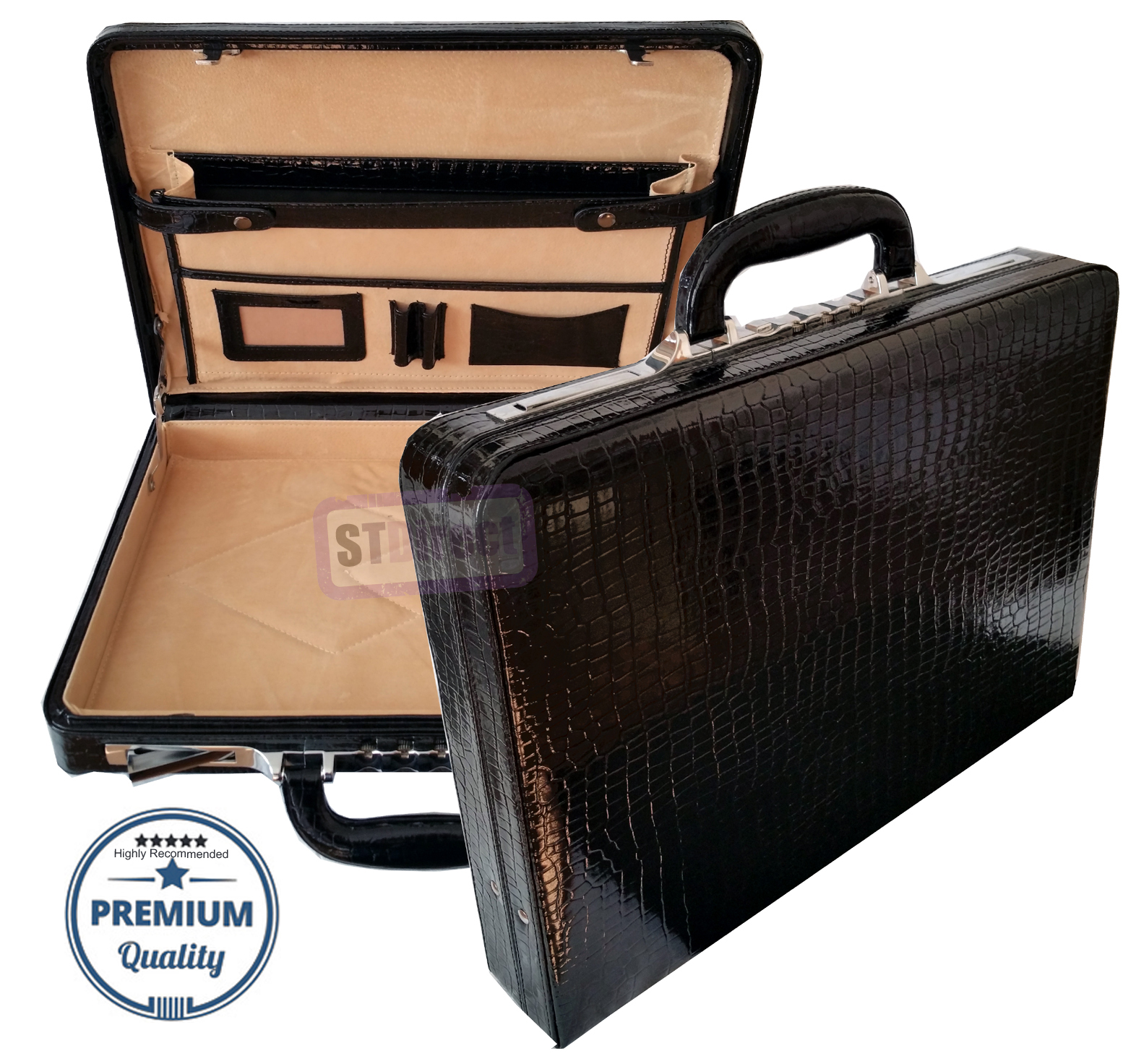 Genuine Leather Croc Finish Unisex Slimline Executive Attache Briefcase