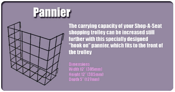 Hook On Metal Pannier for Shop-A-Seat Liberator and Escort Shopping Trolley