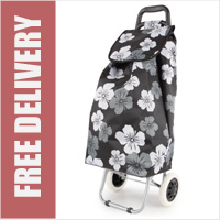 Limited Edition Large Capacity 2 Wheel Shopping Trolley Black with White Grey Floral Print