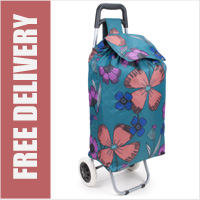 Limited Edition Large Capacity 2 Wheel Shopping Trolley Pretty Petals Green Print