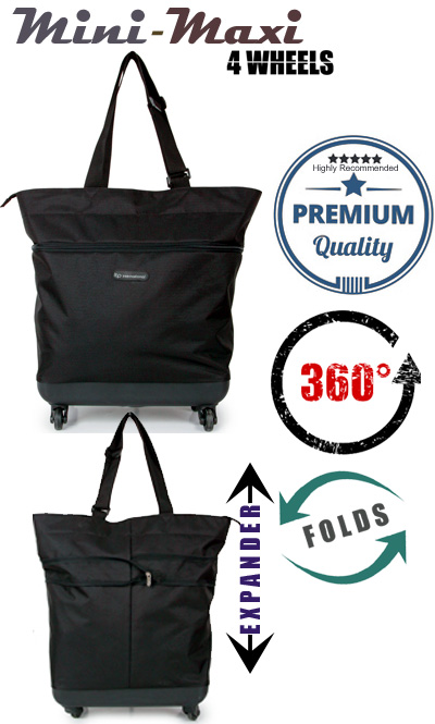 Mini-Maxi Designer Look Expandable 360 Degree Super Lightweight Folding Shopping Bag on 4 Wheels Black