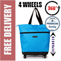 Mini-Maxi Designer Look Expandable 360 Degree Super Lightweight Folding Shopping Bag on 4 Wheels Lemington Spot
