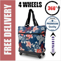 Mini-Maxi Designer Look Expandable 360 Degree Super Lightweight Folding Shopping Bag on 4 Wheels Mauritius Blue