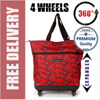 Mini-Maxi Designer Look Expandable 360 Degree Super Lightweight Folding Shopping Bag on 4 Wheels Star Gazer