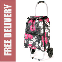 Limited Edition Small Petite 2 Wheel Shopping Trolley with Front Pocket Black with Pink and White Floral Print
