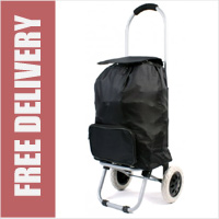 Small Petite 2 Wheel Shopping Trolley with Front Pocket Plain Black