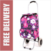 Limited Edition Small Petite 2 Wheel Shopping Trolley with Front Pocket Purple with Multi Floral Print
