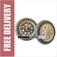 2 x Replacement Spare Wheels for Shopping Trolleys and Carts