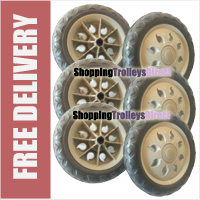 6 x Replacement Spare Wheels for Shopping Trolleys and Carts