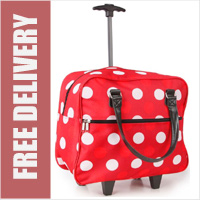 Trendy Lightweight Little Shopper Trolley Bag on Wheels with Adjustable Telescopic Handle Red with Dots