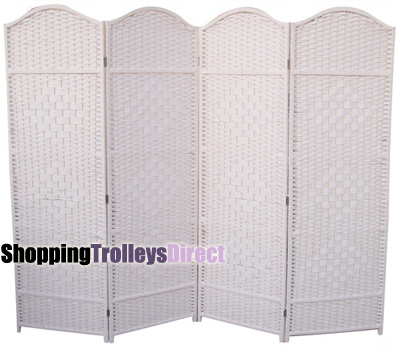Wicker Handwoven 4 Part Panel Partition Room Divider Screen White Classic