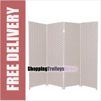 Wicker Handwoven 4 Part Panel Partition Room Divider Screen White Double Weave