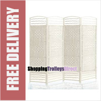 Wicker Handwoven 4 Part Panel Partition Room Divider Screen White Standard